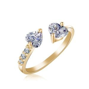 Jewelry - Crystal Hearts Of Love Gold Cuff Ring